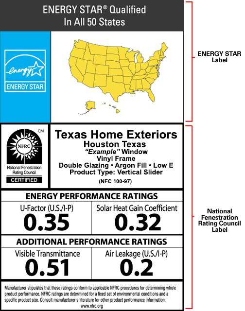 NFRC Energy Star Label Example Houston Texas Home Exteriors