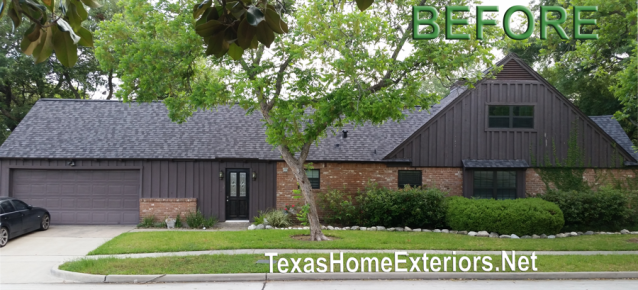 Before photo of Houston TX home vertical brown siding
